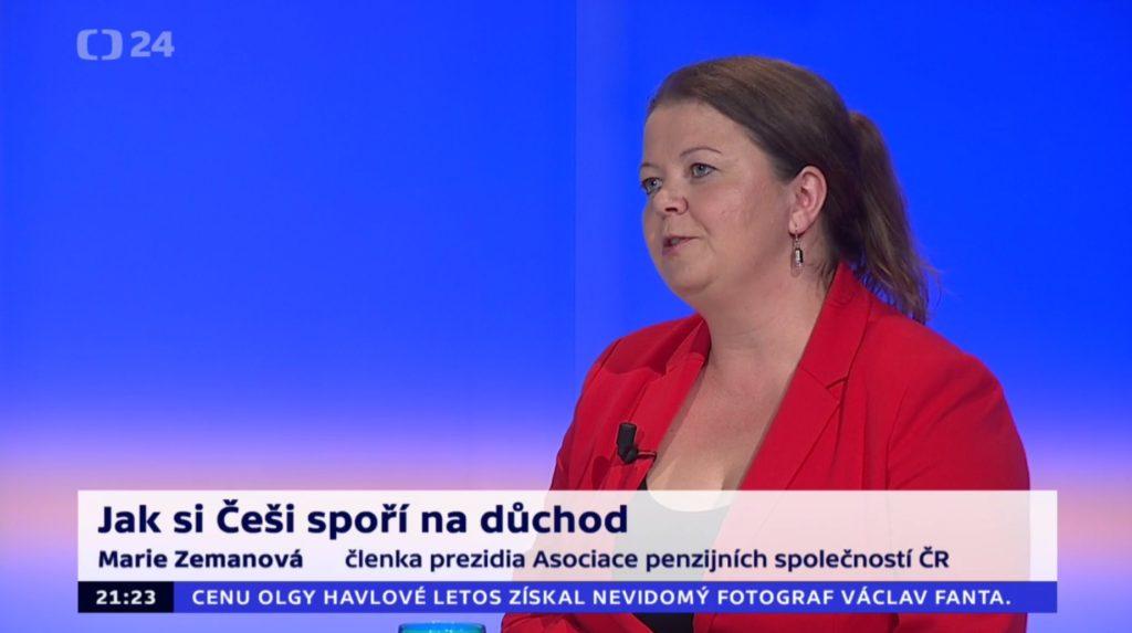 Marie Zemanová hovoří v pořadu 90' ČT24